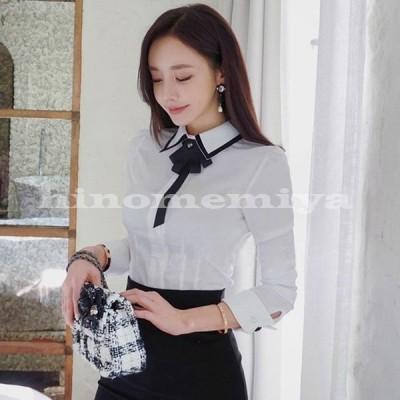 ブラウスレディースきれいめ40代春秋無地ブラウスオシャレシャツ白トップス長袖リボンネック韓国風ゆったり大きいサイズ大人ビジネスシャツ上品