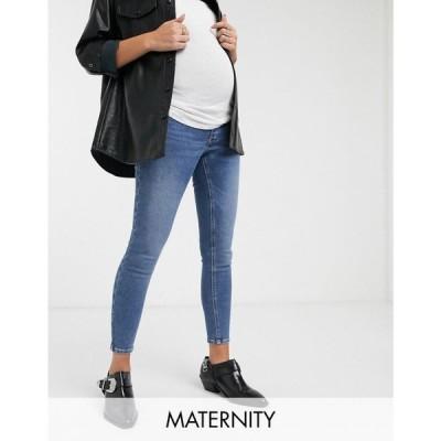 トップショップ マタニティー Topshop Maternity レディース ジーンズ・デニム ボトムス・パンツ Jamie overbump skinny jeans in mid wash ブルー