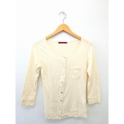 【中古】ベルベット VELVET Tシャツ カットソー ボタン ポケット 無地 コットン 綿  S ベージュ  /UT32 レディース