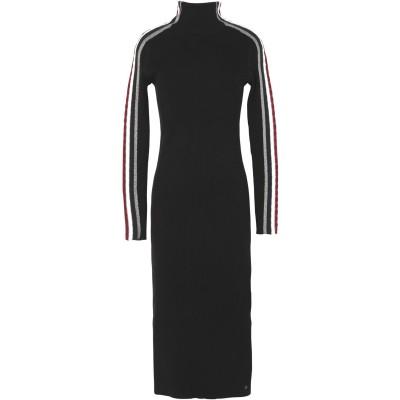 YOOX - トミーヒルフィガー TOMMY HILFIGER 7分丈ワンピース・ドレス ブラック S コットン BCI 95% / カシミヤ 5%