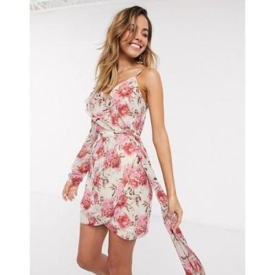 インザスタイル レディース ワンピース トップス In The Style x Billie Faiers one shoulder asymmetric wrap mini dress in contrast pink floral print Multi