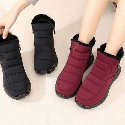 レディースブーツ スノーブーツ 暖かい 裏ボア ブーツ スノーシューズ 雪靴 無地 防寒 防滑 撥水加工 黒 綿靴 かわいい ウィンターブーツ ショットブーツ 冬