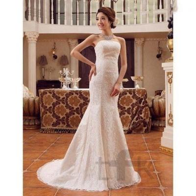 ウェディングドレスロングォマールドレス結婚式二次会パーティービスチェドレスシンプル高級ドレス