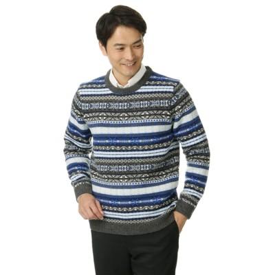 フェアアイル柄クルーネックセーター