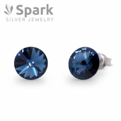 Spark スパーク 一粒 ピアス メンズ スワロフスキー 社製 クリスタル 8.3mm シルバー モンタナ 深い青 ギフト プレゼント 通販