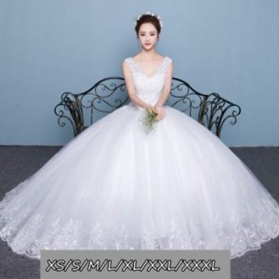 結婚式ワンピース お嫁さん 豪華な ウェディングドレス 花嫁 ドレス Vネック エンパイア ビスチェタイプ 姫系ドレス ホワイト色