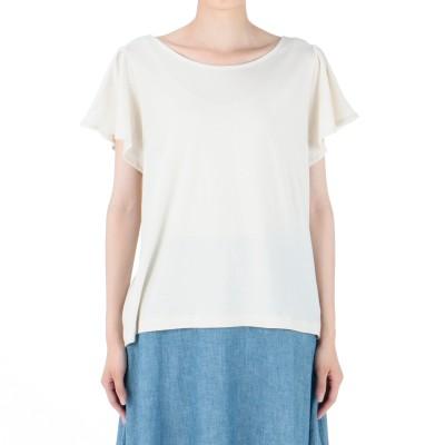 MELROSE CLAIRE(メルローズ クレール)/ソフトコットン天竺フリルスリーブTシャツ
