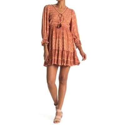 アンジー レディース ワンピース トップス V-Neck Patterned Tiered Dress RUST