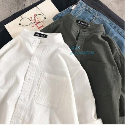 ブラウス シャツ トップス 長袖シャツ シャツブラウス 前開き 体型カバー ポケット付き 長袖 男性 シンプル ゆったり 無地 秋 ファッション 綿 メンズ コットン