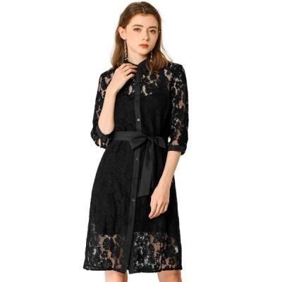 uxcell Allegra K レースワンピース ドレス 花柄 ウエストベルト付き 結婚式 レディース ブラック XS