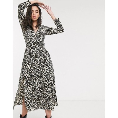 エイソス レディース ワンピース トップス ASOS DESIGN midi shirt dress with buckle belt in leopard print