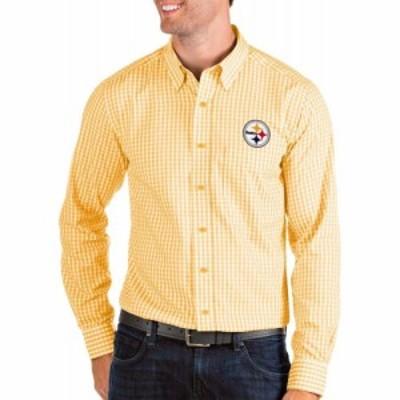 アンティグア Antigua メンズ シャツ トップス Pittsburgh Steelers Structure Button Down Gold Dress Shirt