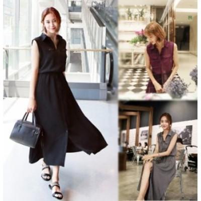 【 S ~ XL 】 大きいサイズ レディース ゆったり ノースリーブ サマー ロング ドレス スカート シャツ 70908