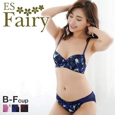 46%OFF (イーエスフェアリー)ES Fairy アモーレローザ ブラジャー ショーツ セット BCDEF プチプラ 大きいサイズ(1771286C)