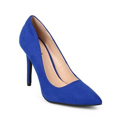キューピッド レディース パンプス Qupid EK56 Women Suede Pointy Toe Single Sole Classic Stiletto Pump - Cobalt Blue