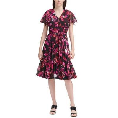 カルバンクライン レディース ワンピース トップス Floral-Print Chiffon Dress