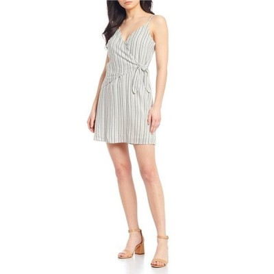 ジービー レディース ワンピース トップス Striped Faux-Wrap Bodice Dress