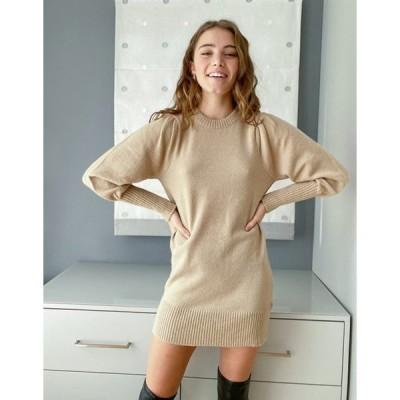 ミスセルフフリッジ レディース ワンピース トップス Miss Selfridge puff sleeve knit mini dress in camel