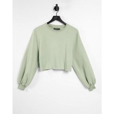 スリードベア レディース シャツ トップス Threadbare rebel cropped raw edge sweatshirt in dusty green