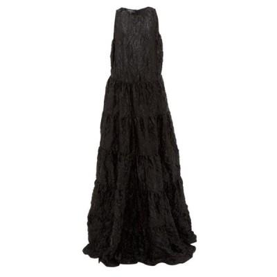 ロシャス Rochas レディース パーティードレス ワンピース・ドレス Tiered crinkled-satin gown Black