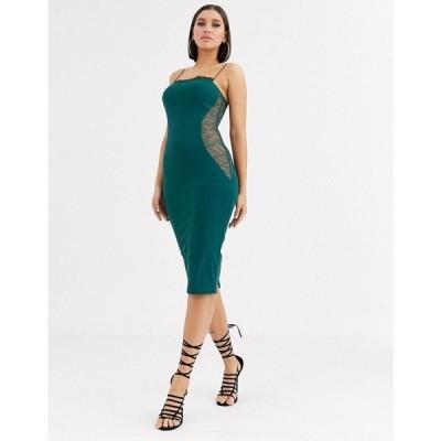 エイソス ASOS DESIGN レディース ワンピース ミドル丈 ワンピース・ドレス lace contour midi dress フォレストグリーン