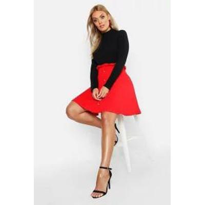 Boohoo レディーススカート Boohoo Plus Paper Bag Button Detail Skater Skirt