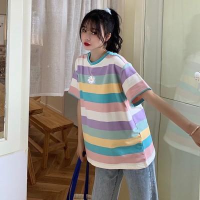 ロングTシャツ ビッグTシャツ レディーストップス ゆったり カジュアル可愛い 40代 30代 20代 カラフル 2020春夏 ロングゆったりTシャツ プリントT女性