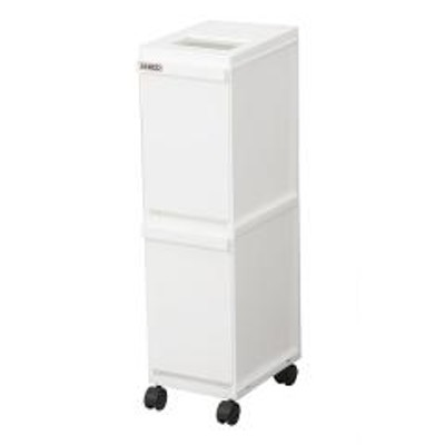 ゴミ箱 分別 2段 スリム ユニード 多段 ごみ箱 ダストボックス 分別ごみ箱 キャスター付き ホワイト ( キッチン 分別ワゴン キャスター 蓋つき フタ付き 隙間 1段 10L 10リットル 2分別 )