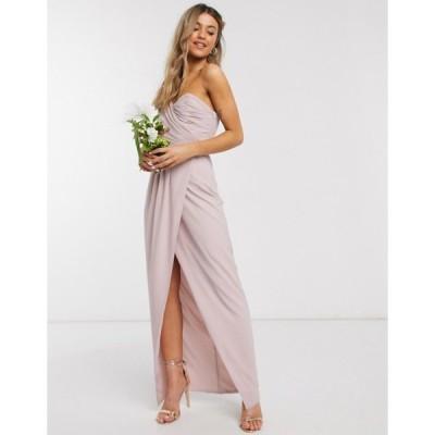 ティエフエヌシー レディース ワンピース トップス TFNC bridesmaid one shoulder wrap front maxi dress in pink