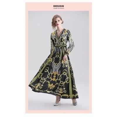 秋のドレス V ネックベルト 2019 ヴィンテージファッションプリントマキシロングエレガントなドレス