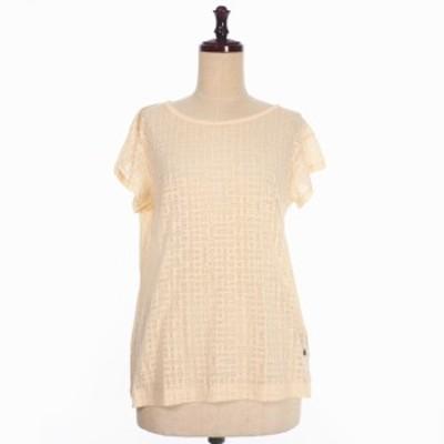 【中古】未使用品 ジースターロウ 総柄 ラウンドネック Tシャツ カットソー 半袖 XS ベージュ 国内正規 レディース