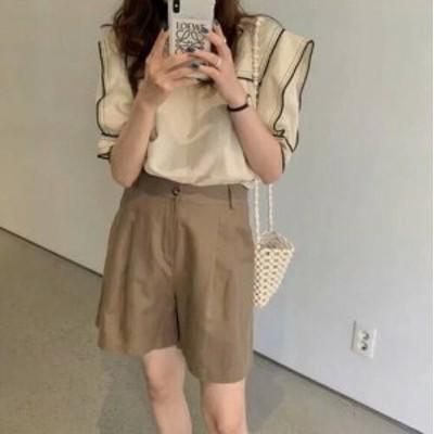 ショートパンツ ナチュラル ブラウン シンプル 夏 ボトムス 大人カジュアル レディース ファッション 韓国 オルチャン