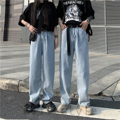 デニムワイドパンツ韓国オルチャンストリートダンス衣装ジーンズ原宿系アメカジケミカルウォッシュレッスン着ボトムス