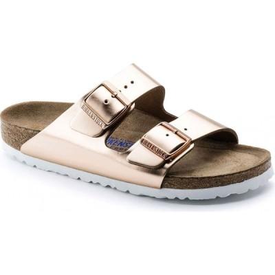 ビルケンシュトック Birkenstock レディース サンダル・ミュール シューズ・靴 Arizona Leather Soft Footbed Sandals Metallic Copper
