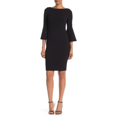 カルバンクライン レディース ワンピース トップス Bell Sleeve Sheath Dress BLACK