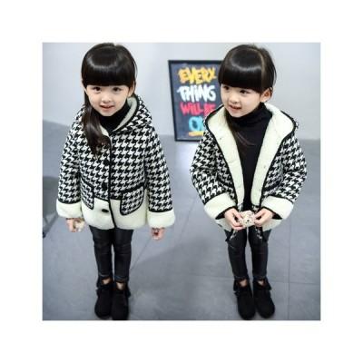 SALE 千鳥格子コート 裏ボア 韓国子供服