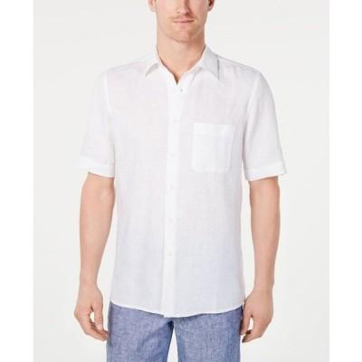 タッソエルバ シャツ トップス メンズ Men's Cross-Dye Short Sleeve Linen Shirt White