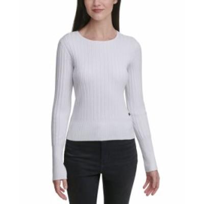 カルバンクライン レディース シャツ トップス Ribbed-Knit Crewneck Sweater White