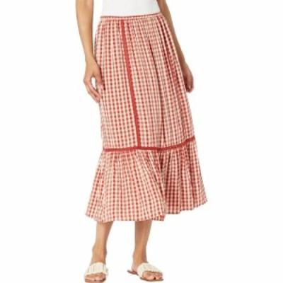 マックススタジオ MAXSTUDIO レディース ロング・マキシ丈スカート スカート Woven Long Plaid Skirt Red/Ivory