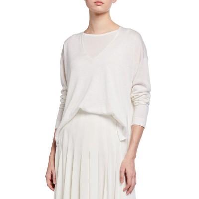アクリス レディース ニット・セーター アウター V-Neck Silk-Linen Sweater