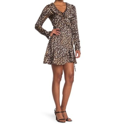 フォーティーンス プレイス レディース ワンピース トップス Leopard Ruffle Wrap Dress LEOPARD