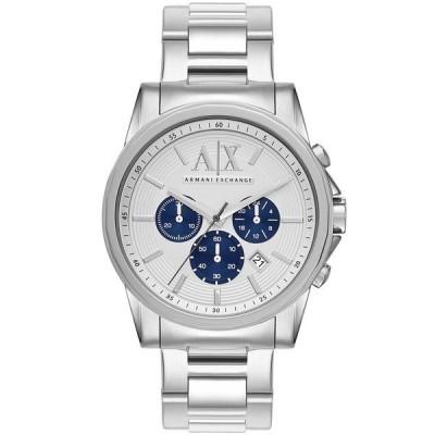 アルマーニ 腕時計 アクセサリー メンズ AX Men's Silver-Tone Stainless Steel Bracelet Watch 45mm Silver