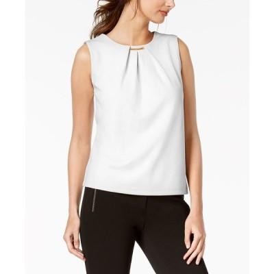 カルバンクライン カットソー トップス レディース Embellished Pleated Sleeveless Top White
