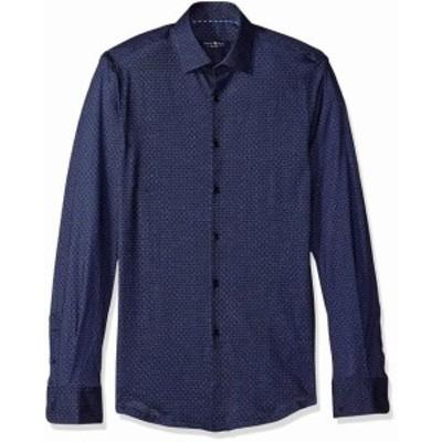 Rose  ファッション ドレス Stone Rose Mens Dress Shirt Navy Blue Size 6 Honeycomb Geo Print