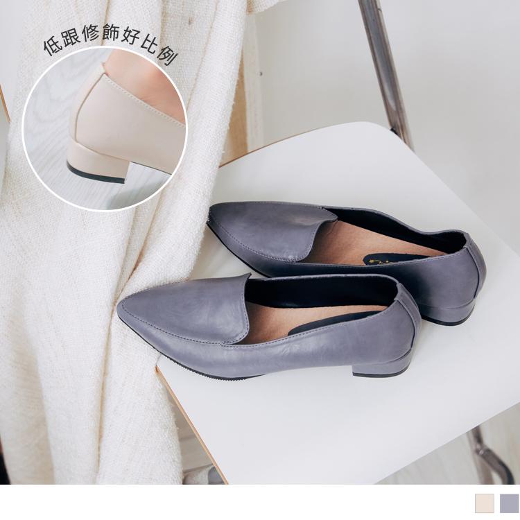 台灣製造~經典素面尖頭低跟樂福鞋
