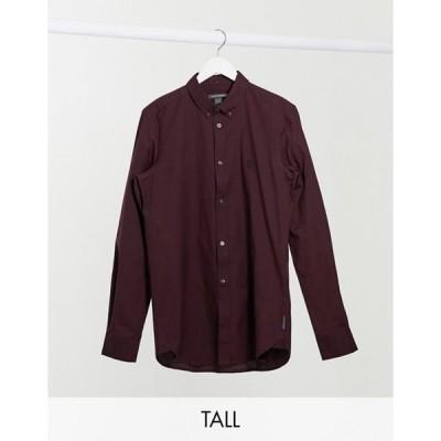フレンチコネクション メンズ シャツ トップス French Connection Tall oxford button down logo shirt in burgundy