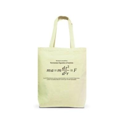 科学Tシャツ:ニュートンの運動方程式(運動の第2法則)_黒:加速度・質量・力 トートバッグM(ナチュラル)