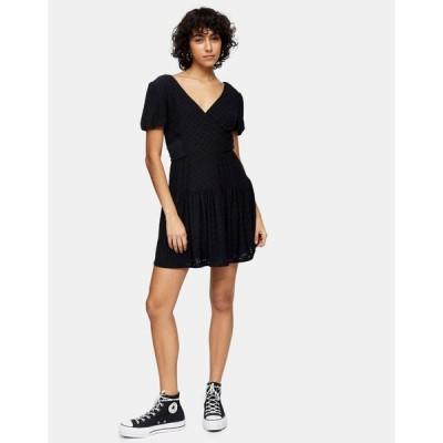 トップショップ Topshop レディース ワンピース ラップドレス ワンピース・ドレス broderie wrap dress in black ブラック