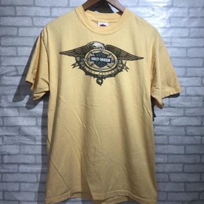 M◆Harley Davidson アメリカ製ロゴプリントTシャツ ベージュ