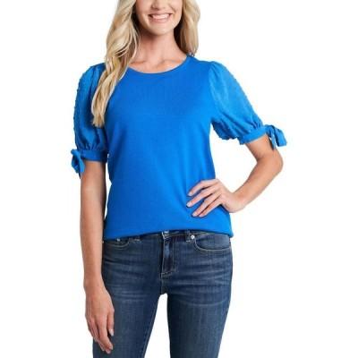 シーシー CeCe レディース ニット・セーター トップス Puff-Sleeved Mixed-Media Sweater Cosmic Blue
